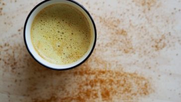 A cup of turmeric latte